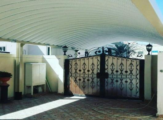 عمل مظلة خارجية فوق الأبواب بأشكال متعددة